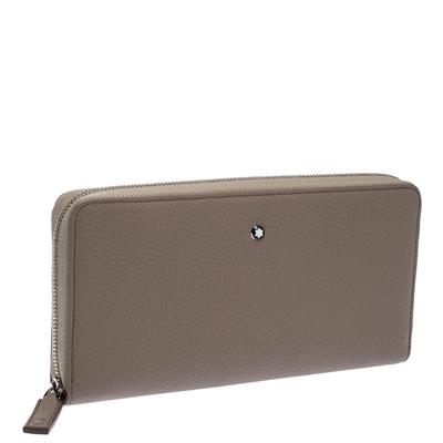 Montblanc Beige Leather Meisterstuck Zip Around Wallet 263395 - 2