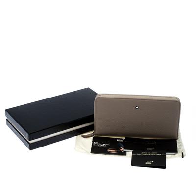 Montblanc Beige Leather Meisterstuck Zip Around Wallet 263395 - 7