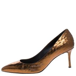 Giuseppe Zanotti Design Bronze Ostrich Embossed Leather Lucrezia Pointed Toe Pumps Size 40 263044
