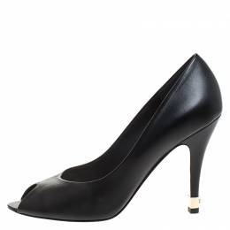 Chanel Black Leather Peep Toe CC Heel Pumps Size 38 263406