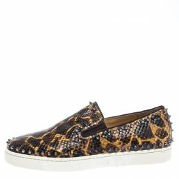 Christian Louboutin Leopard Print Python Leather Pik Boat Slip On Sneakers Size 43.5 262570