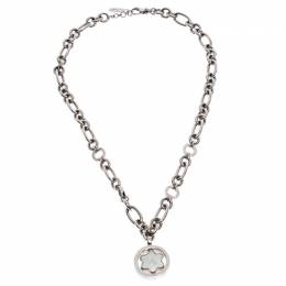 Montblanc Star Signet Mother of Pearl Silver Chain Link Pendant Necklace