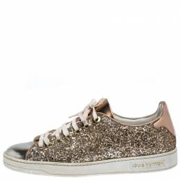 Louis Vuitton Metallic Rose Gold Leather And Coarse Glitter Frontrow Low Top Lace Up Sneakers Size 38 261823