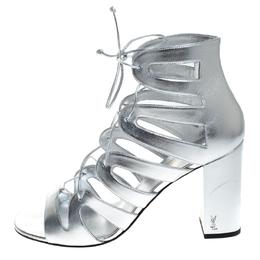 Saint Laurent Silver Leather Gladiator Ankle Wrap Sandals Size 41 262756