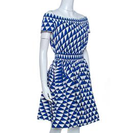Prada Blue and White Geometric Printed Cotton Off Shoulder Dress M 262596