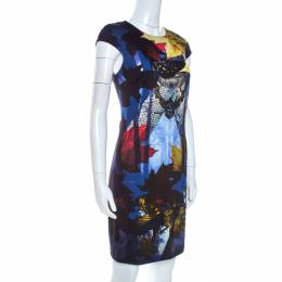 Just Cavalli Multicolor Printed Stretch Knit Sheath Dress M 261486
