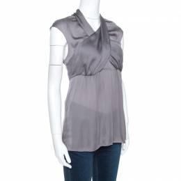 Prada Grey Silk Draped Front Short Sleeve Tunic Top M 263505