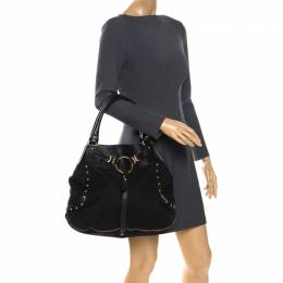 DKNY Black Signature Canvas and Leather Shoulder Bag 260521