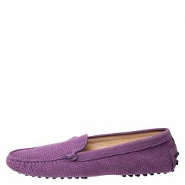 Tod's Purple Perforated Suede Loafers Size 40 Tod's 259043