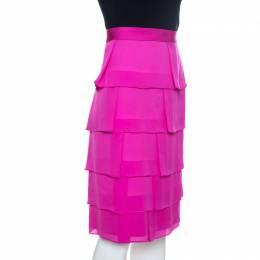 Escada Fuschia Pink Silk Tiered Skirt L 259040