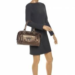 DKNY Metallic Bronze Leather Bowler Bag 260273