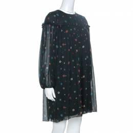 Chloe Dark Green Floral Printed Silk Tunic Dress S