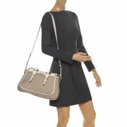 Celine White/Beige Macadam Canvas and Croc Embossed Leather Shoulder Bag 258700