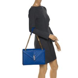 Saint Laurent Paris Electric Blue Matelasse Leather Large Cassandre Flap Bag