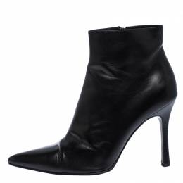 Gucci Black Leather Pointed Toe Ankle Boots Size 38 259839
