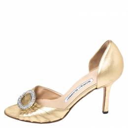 Manolo Blahnik Gold Leather Crystal Embellished Open Toe Sandal Size 35 261114