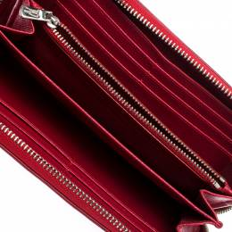 Coach Brown/Red Trim Coated Canvas Zip Around Wallet