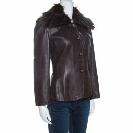 Emporio Armani Brown Leather Fur Collared Vintage Jacket M 260886