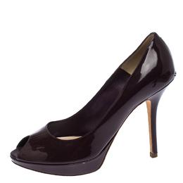 Dior Purple Patent Leather Miss Dior Peep Toe Platform Pumps Size 38 260247