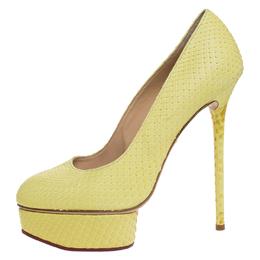 Charlotte Olympia Yellow Python Priscilla Platform Pumps Size 38 259373