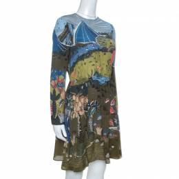 Valentino Olive Green Jungle Of Delight Print Silk Dress S 258823