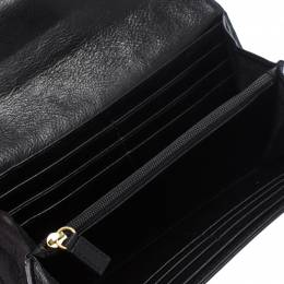 Givenchy Black/White Signature Leather and Canvas Flap Continental Wallet