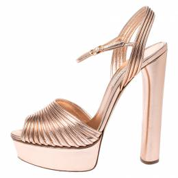 Casadei Metallic Embossed Bronze Leather Piping Detail Ankle Strap Platform Sandals Size 39 259063
