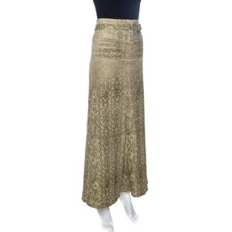 Roberto Cavalli Beige Lace Print Cotton Maxi Skirt M 259262