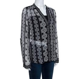 Diane Von Furstenberg Monochrome Knot Print Silk Harlow Blouse L 258855