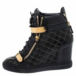 Giuseppe Zanotti Design Black Quilted Leather Lorenz Wedge Sneakers Size 40