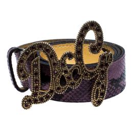 D&G Purple Snake Embossed Leather Crystal Embellished Logo Buckle Belt Size 90 Dandg 259277
