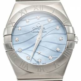 Omega Constellation Blue Diamond Dial Stainless Steel Women's Watch 27MM 259273