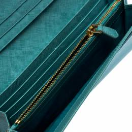 Prada Turquoise Saffiano Lux Leather Continental Flap Wallet 260318
