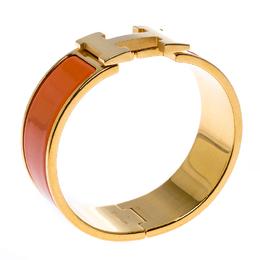 Hermes Clic Clac H Orange Enamel Gold Plated Wide Bracelet PM 260310