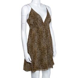 Saint Laurent Paris Silk Animal Print Sleeveless Mini Dress M