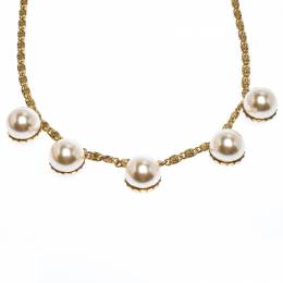Ch Carolina Herrera Faux Pearl Gold Tone Long Chain Link Necklace 258939