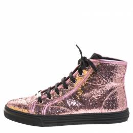 Gucci Metallic Pink Glitter Leather And Leather Trim California High Top Sneakers Size 38 259866