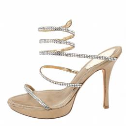 Rene Caovilla Metallic Gold Crystal Embellished Ankle Wrap Sandals Size 38 259880