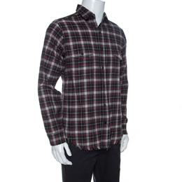 Saint Laurent Paris Multicolor Checked Cotton Frayed Hem Detail Shirt L
