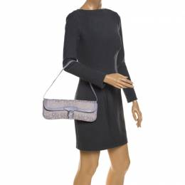 DKNY Lilac Signature Fabric and Leather Buckle Flap Shoulder Bag 259087