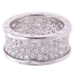 Bvlgari B-Zero1 Pave Diamonds 18K White Gold Band Ring Size 58 259184