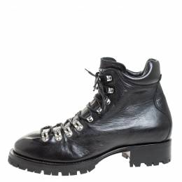 Dsquared2 Black Leather Lace Up Ankle Boots Size 41