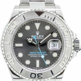 Rolex Grey Dial Yacht-Master Platinum Bezel Staniless Steel Watch 40 MM
