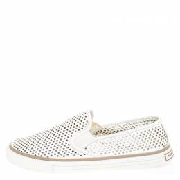 Tory Burch White Perforated Leather Miles Slip On Sneakers Size 39