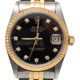 Rolex Black Datejust Steel & Yellow Gold Diamond Dial Women'S Watch 31MM