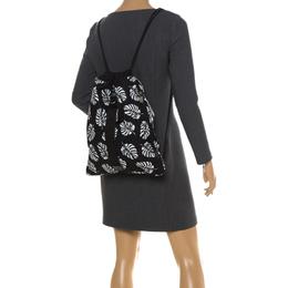 Dolce&Gabbana Black Palm Print Drawstring Backpack 260814