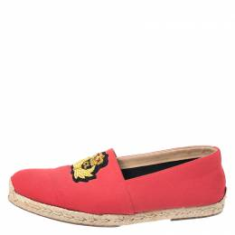 Christian Louboutin Red Canvas Gala Embroidered Crest Espadrille Loafers Size 44