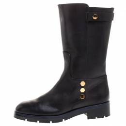 Tod's Black Leather Flat Mate Mid Calf Boots Size 37.5 Tod's