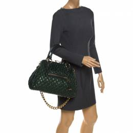 Marc Jacobs Metallic Green Quilted Leather Stam Shoulder Bag 259257