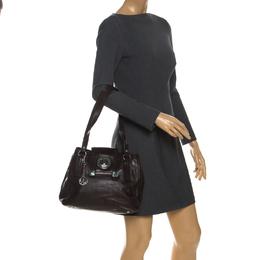 DKNY Dark Brown Leather Push Lock Shoulder Bag 260687